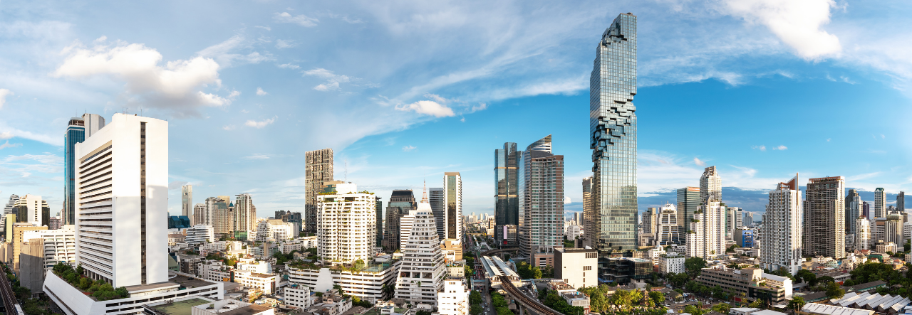 The skyline of Bangkok with Mahanakhon Building